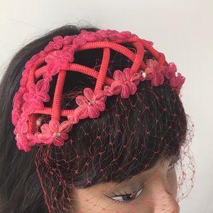Vintage Red Netted Headband